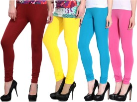 Ngt Women's Maroon, Yellow, Light Blue, Pink Leggings Pack Of 4