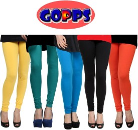 Gopps Women's Yellow, Green, Blue, Black, Orange Leggings Pack Of 5