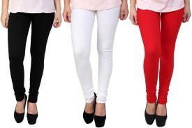Stylobbby Women's Black, White, Red Leggings Pack Of 3