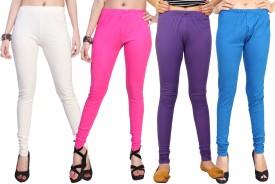 Comix Women's White, Pink, Purple, Light Blue Leggings Pack Of 4