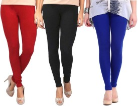 Sampoorna Collection Women's Black, Red, Blue Leggings Pack Of 3