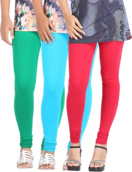 Be-Style Women's Light Blue, Red, Green Leggings Pack Of 3