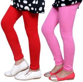 Indistar Girl's Red, Pink Leggings