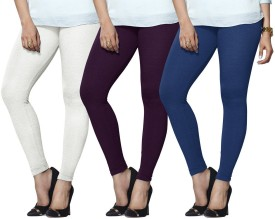Lux Lyra Women's White, Purple, Light Blue Leggings Pack Of 3