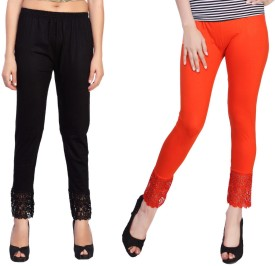 Comix Women's Black, Orange Leggings Pack Of 2