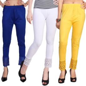 Comix Women's Blue, White, Yellow Leggings Pack Of 3