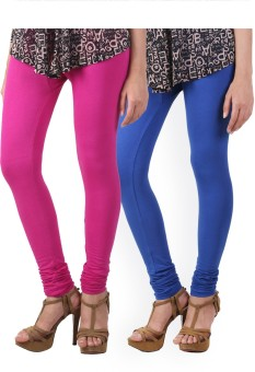 HiFi Women's Pink, Blue Leggings Pack Of 2