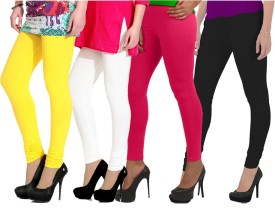 NGT Women's Yellow, White, Pink, Black Leggings Pack Of 4
