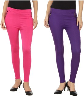 Lambency Women's Pink, Purple Jeggings Pack Of 2