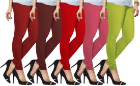 Lux Lyra Women's Red, Red, Maroon, Pink, Light Green Leggings Pack Of 5