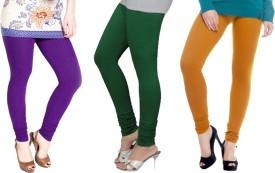 Avrutti Girl's Green, Gold, Purple Leggings