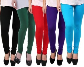 Myra Softwear Women's Black, Green, Red, Blue, Light Blue Leggings Pack Of 5