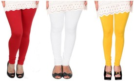 Raro Women's Red, White, Yellow Leggings Pack Of 3
