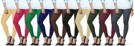 Lux Lyra Women's Beige, Pink, Dark Green, Dark Blue, Brown, Black, Beige, Dark Green, Purple, Blue Leggings Pack Of 10