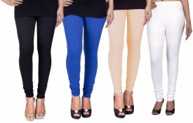 C&s Shopping Gallery Women's Black, Blue, Beige, White Leggings Pack Of 4