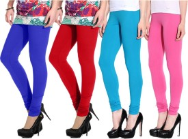 NGT Women's Blue, Red, Light Blue, Pink Leggings Pack Of 4