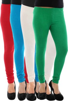 Paulzi Women's Red, Blue, White, Green Leggings Pack Of 4
