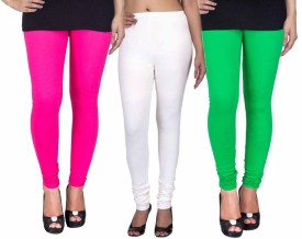 Fashion Flow+ Women's Pink, White, Green Leggings Pack Of 3