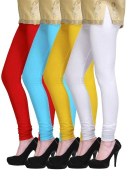 PI World Women's Red, Blue, Yellow, White Leggings Pack Of 4