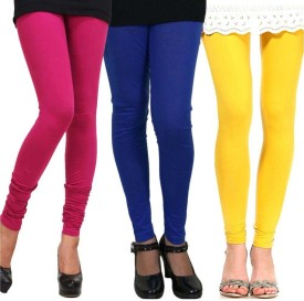 StyloFashionGarments Women's Blue, Pink, Yellow Leggings Pack Of 3