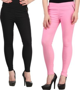 Roma Creation Girl's Black, Pink Jeggings Pack Of 2