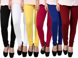 Pi World Women's Black, White, Yellow, Red, Blue, Maroon Leggings Pack Of 6