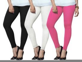 Lux Lyra Women's Black, White, Pink Leggings Pack Of 3