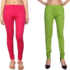 Comix Women's Pink, Yellow, Green Leggings Pack Of 2