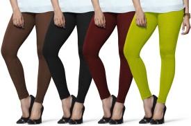 Lux Lyra Women's Brown, Black, Maroon, Light Green Leggings Pack Of 4