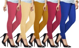 Lux Lyra Women's Pink, Beige, Yellow, Pink, Light Blue Leggings Pack Of 5