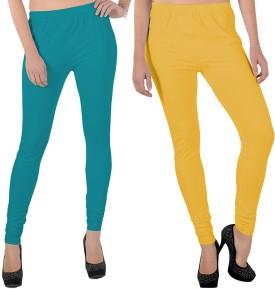 X-Cross Women's Light Blue, Yellow Leggings Pack Of 2