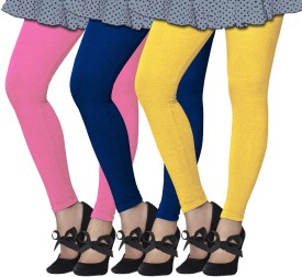 Lux Lyra Girl's Pink, Blue, Yellow Leggings Pack Of 3
