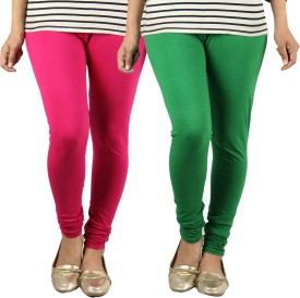 Radha's Women's Pink, Green Leggings Pack Of 2