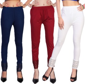 Comix Women's Dark Blue, Maroon, White Leggings Pack Of 3