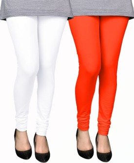 PAMO Women's White, Orange Leggings Pack Of 2