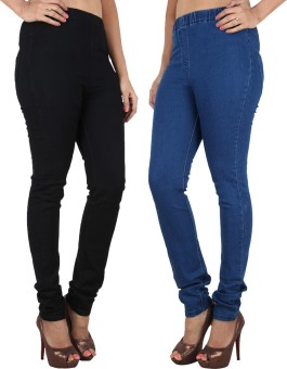 Danbro Women's Blue, Black Jeggings Pack Of 2