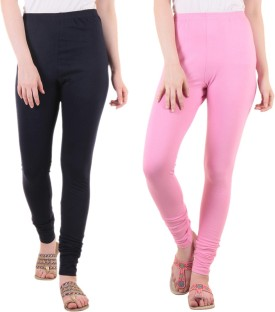 Diaz Women's Dark Blue, Pink Leggings Pack Of 2