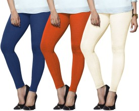 Lux Lyra Women's Light Blue, Orange, Beige Leggings Pack Of 3