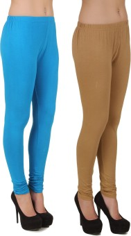 Stylishbae Women's Blue, Beige Leggings Pack Of 2