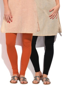 Fort Collins Women's Black, Orange Leggings Pack Of 2