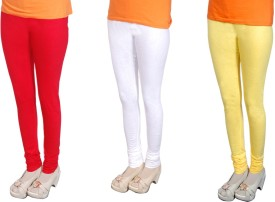 Radhika Garments Women's Red, White, Yellow Leggings Pack Of 3