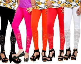 By The Way Women's Black, Pink, Orange, Red, White Leggings Pack Of 5