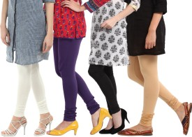 Amoya Women's Black, White, Beige, Purple Leggings Pack Of 4