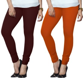 Lux Lyra Women's Maroon, Orange Leggings Pack Of 2