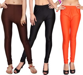 Comix Women's Brown, Black, Orange Leggings Pack Of 3