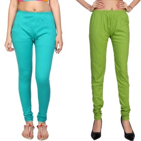 Comix Women's Light Blue, Yellow, Green Leggings Pack Of 2