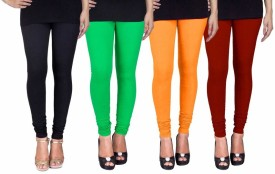 Fashion Flow+ Women's Black, Green, Yellow, Maroon Leggings Pack Of 4