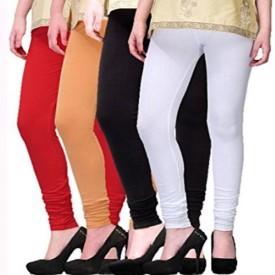 Appeal Women's Red, Beige, Black, White Leggings Pack Of 4