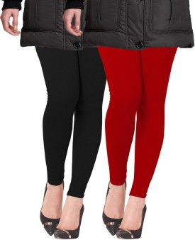 Lux Lyra Women's Black, Red Leggings Pack Of 2