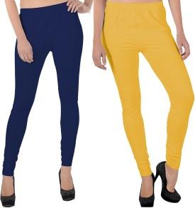 X-Cross Women's Dark Blue, Yellow Leggings Pack Of 2